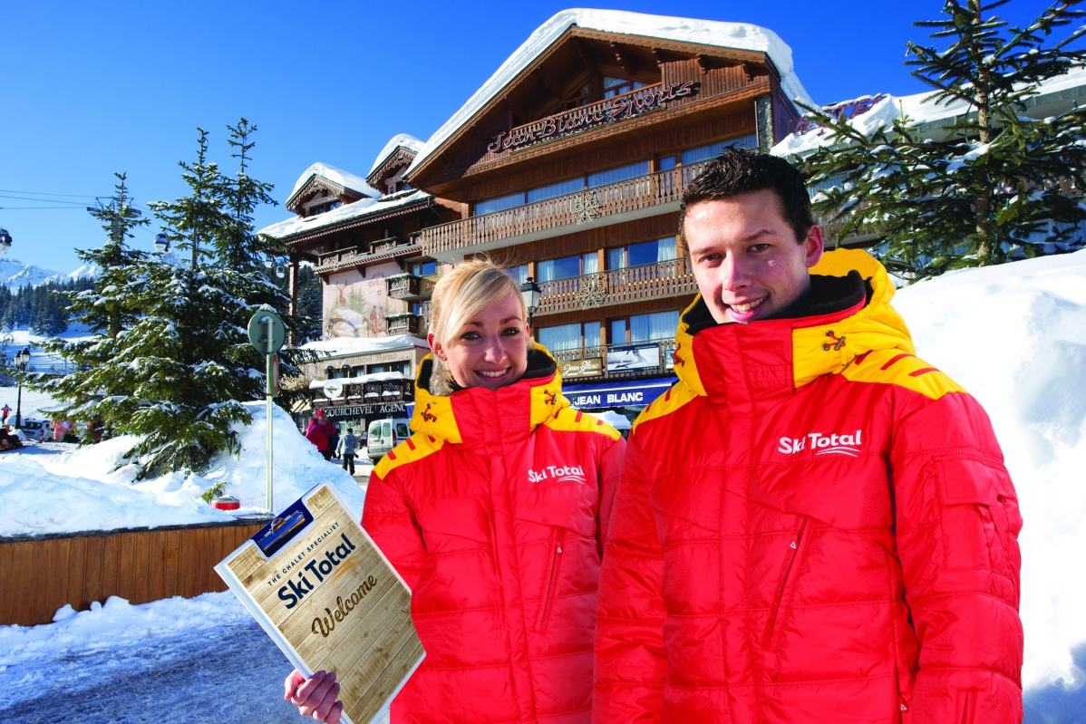Ski Total | Ski Total staff infront of the exterior of the chalet Jean Blanc