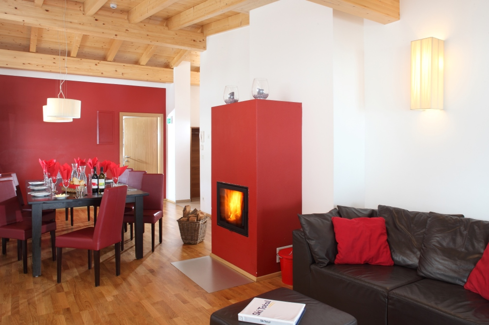 Ski Total   Lounge and dining areas in the Chalet Janus