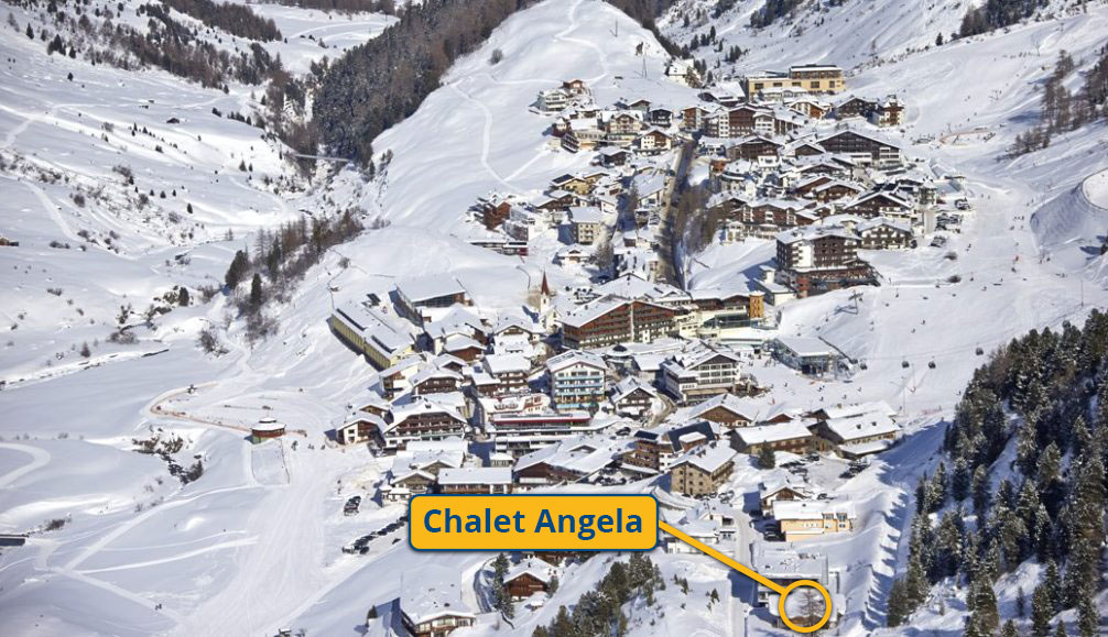 Ski Total | Birdseye view of the chalet Angela's location in resort