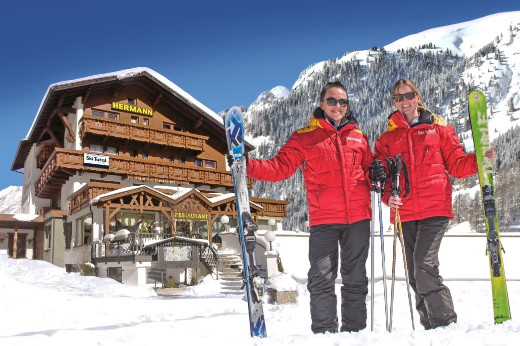 Ski Total | Ski Total representatives outside the Chalet Hotel