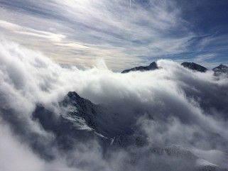 Cloudy view of the alps