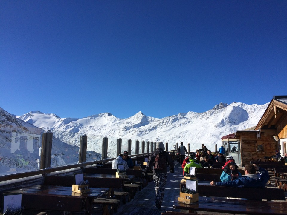 The Hohe Mut restaurant views in the sun!