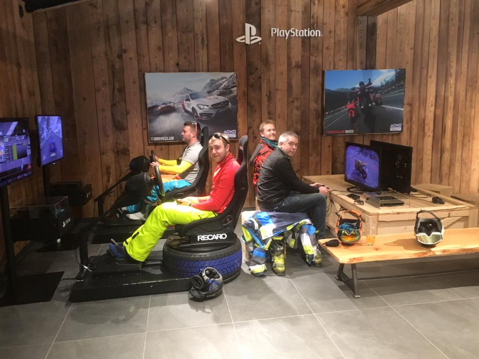 Ski Total   Reps playing on the driving simulators inside the museum