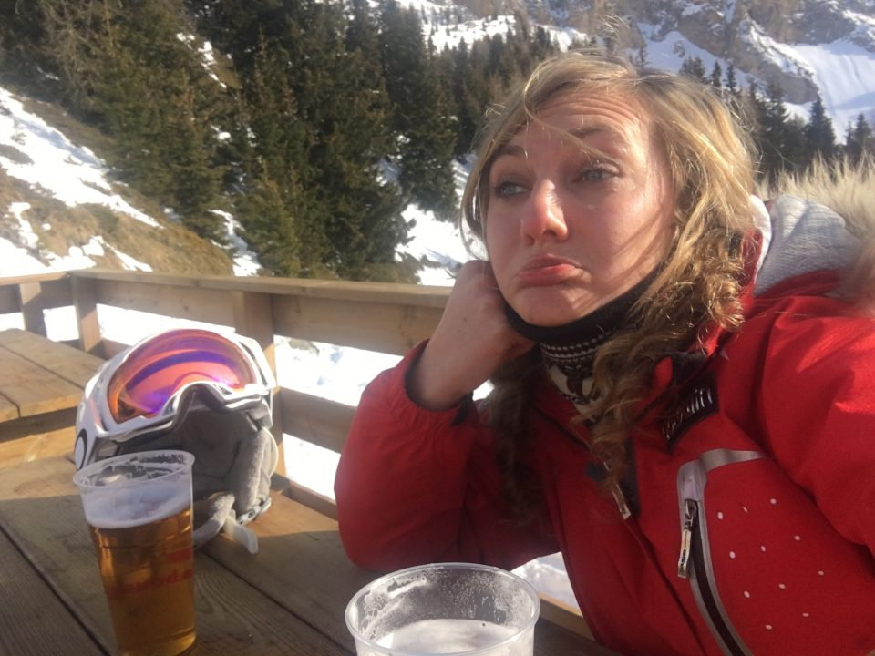 Ski Total | Single girl drinking a beer alone on Valentines day