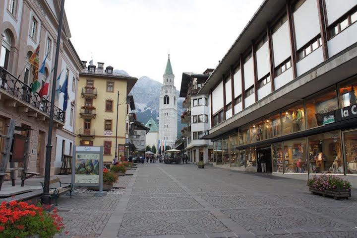 Ski Total   view of the corso italia in Cortina town, Italy