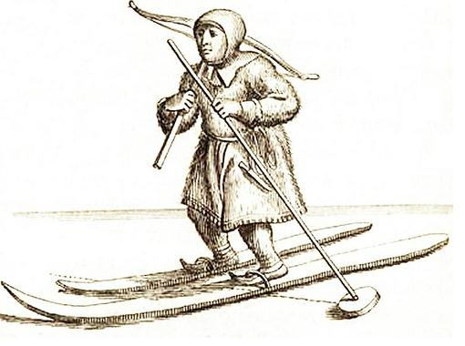 Ski Total | Sami man with crossbow and skis in 1674
